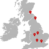 Picture of a map with markers pointing to Birmingham, Oxford, Edinburgh, Leicester, Newcastle and London
